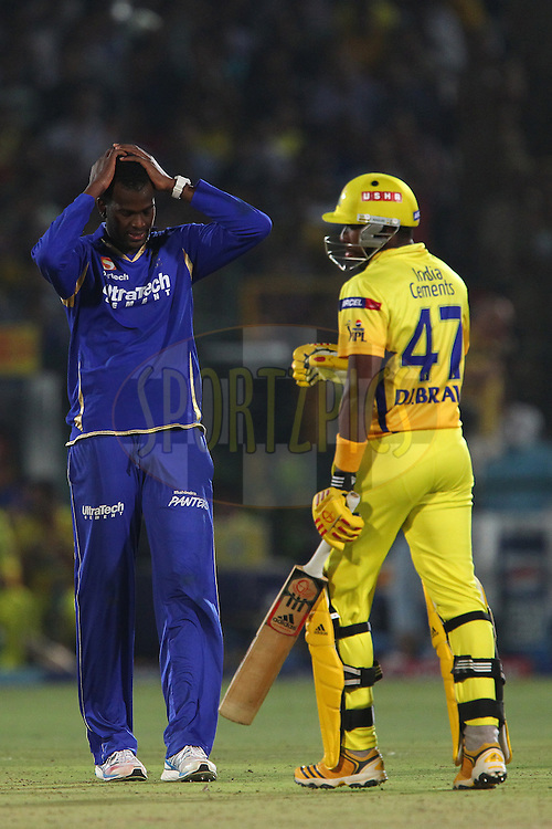 Kevon Cooper reacts after bowling  during match 61 of the Pepsi Indian Premier League ( IPL) 2013  between The Rajasthan Royals and the Chennai SUperkings held at the Sawai Mansingh Stadium in Jaipur on the 12th May 2013..Photo by Ron Gaunt-IPL-SPORTZPICS ..Use of this image is subject to the terms and conditions as outlined by the BCCI. These terms can be found by following this link:..http://www.sportzpics.co.za/image/I0000SoRagM2cIEc