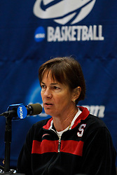 March 18, 2011; Stanford, CA, USA; Stanford Cardinal head coach Tara VanDerveer speaks at a press conference the day before the first round of the 2011 NCAA women's basketball tournament at Maples Pavilion.