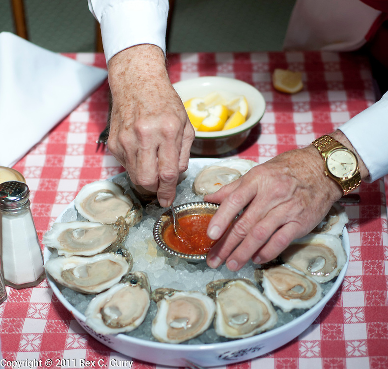 Oysters on the Half Shell at  S&D Oyster Company in Dallas, Texas..Photo by Rex C. Curry....