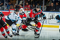 KELOWNA, CANADA - DECEMBER 2: Jeff De Wit #11 of the Kootenay Ice stick checks Braydyn Chizen #22 of the Kelowna Rockets on December 2, 2017 at Prospera Place in Kelowna, British Columbia, Canada.  (Photo by Marissa Baecker/Shoot the Breeze)  *** Local Caption ***
