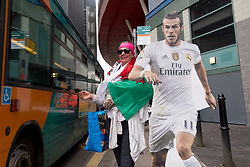 June 2, 2017 - Cardiff, South Glamorgan, Wales - A welsh supporter of Gareth Bale outside the National Stadium of Cardiff on the eve of the UEFA Champions League Final match between Real Madrid and Juventus at the National Stadium of Wales, Cardiff, Wales on 2 June 2017. (Credit Image: © Giuseppe Maffia/NurPhoto via ZUMA Press)