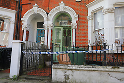 © Licensed to London News Pictures. 16/04/2018. London, UK. The scene at Sudbourne Road in Brixton where a woman, believed to be in her 30s, has died from stab wounds. A man aged in his 20s has been arrested on suspicion of murder and remains in custody at a south London police station. Photo credit: Rob Pinney/LNP