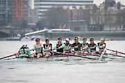 London. UNITED KINGDOM.   Tideway Week. 162nd BNY Mellon Boat Race  and The 71st Newton Women's Boat Race on the Championship Course, River Thames, Putney/Mortlake.  Thursday  24/03/2016    [Mandatory Credit. Intersport Images]<br /> <br /> Cambridge University Women's Boat Club {CUWBC0<br /> <br /> Cambridge, Crew Bow Ashton Brown, 2 Fiona Macklin, 3 Alice Jackson, 4 Thea Zabell, 5 Daphne Martschenko, 6 Myriam Goudet, 7 Hannah Roberts, Stroke Zara Goozee, Cox Rosemary Ostfeld.