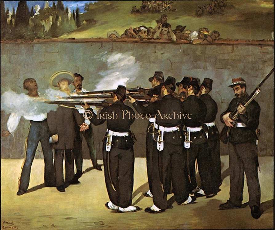 The Execution of Emperor Maxililian of Mexico, Oil on canvas (1868) by Eduard Manet (1832-1883) French painter.  Emperor Maximilian I of Mexico:  Maximilian (1832-1967) was born Archduke Ferdinand Maximilian Joseph of Austria and was proclaimed Emperor of Mexico on 10 April 1864 with the backing of Napoleon III of France. Few foreign government recognised his regime, which was also the case with Mexican liberals.  The ensuing conflict ended with the Emperor's execution.