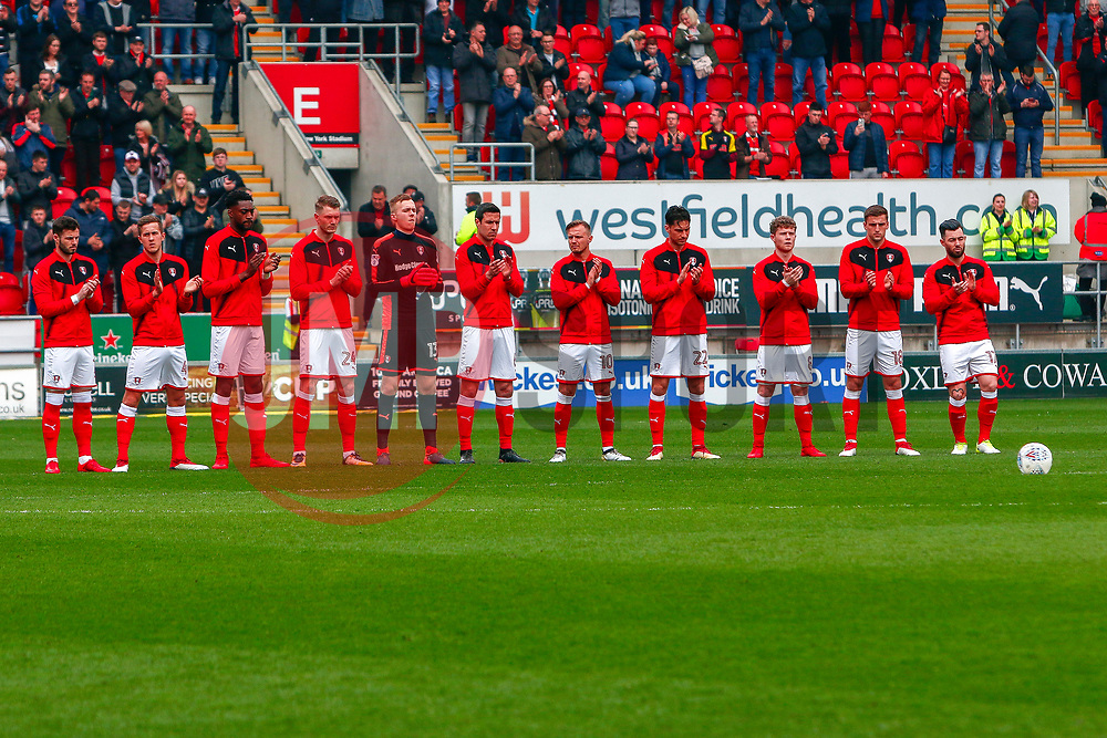Rotherham United players during a minutes applause in respect of Ray Wilkins - Mandatory by-line: Ryan Crockett/JMP - 07/04/2018 - FOOTBALL - Aesseal New York Stadium - Rotherham, England - Rotherham United v Fleetwood Town - Sky Bet League One