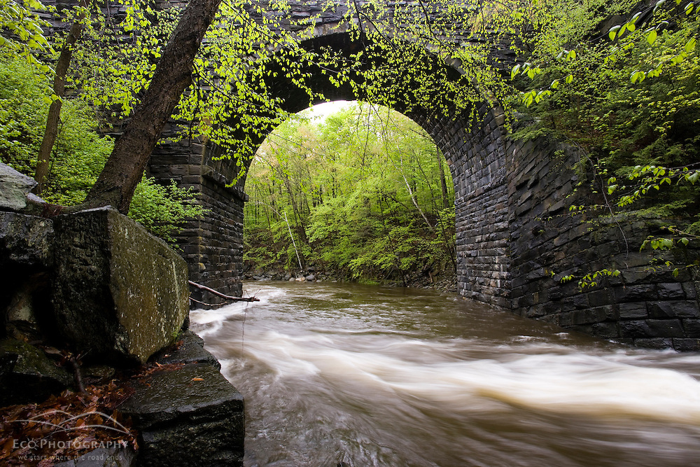 Keystone Arch on the West Branch of the Westfield River, Chester, Massachusetts.  Keystone Arch Bridges Trail.  Spring.