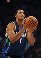 Mar. 16 2010; Phoenix, AZ, USA; Minnesota Timberwolves center Ryan Hollins (1) shots a free throw at the US Airways Center. The Suns defeat the Timberwolves 152-114. Mandatory Credit: Jennifer Stewart-US PRESSWIRE.