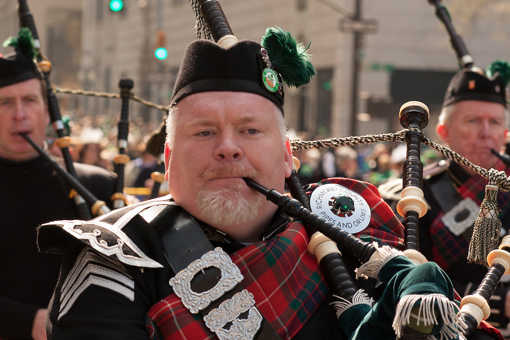 A piper from the Richmond County Pipes and Drums.
