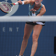 Alison Riske, USA, in action against Daniela Hantuchova, Slovakia, during the Women's Singles competition at the US Open. Flushing. New York, USA. 2nd September 2013. Photo Tim Clayton