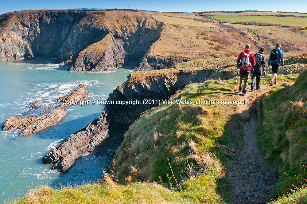 Three male walkers on Path near Ceibwr<br /> Pembrokeshire<br /> Wales Coast Path<br /> South<br /> Walking<br /> Activities And Sports