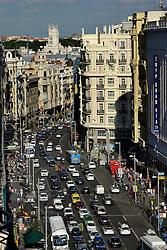 THEMENBILD - Madrid ist seit Jahrhunderten der geographische, politische und kulturelle Mittelpunkt Spaniens (siehe Kastilien) und der Sitz der spanischen Regierung. Hier residieren auch der König, ein katholischer Erzbischof sowie wichtige Verwaltungs- und Militärbehörden. Als Handels- und Finanzzentrum hat die Stadt nationale und internationale Bedeutung. Hier im Bild Blick auf Prachtstrasse Calle Gran Via // THEMATIC PACKAGES - Madrid is the capital and largest city of Spain. The population of the city is roughly 3.3 million and the entire population of the Madrid metropolitan area is calculated to be around 6.5 million. It is the third-largest city in the European Union, after London and Berlin, and its metropolitan area is the third-largest in the European Union after London and Paris. The city spans a total of 604.3 km2. EXPA Pictures © 2014, PhotoCredit: EXPA/ Eibner-Pressefoto/ Weber<br /> <br /> *****ATTENTION - OUT of GER*****