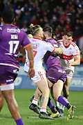 Hull Kingston Rovers loose forward Kyle Trout (17) tackles a Giants player during the Betfred Super League match between Hull Kingston Rovers and Huddersfield Giants at the Hull College Craven Park  Stadium, Hull, United Kingdom on 21 February 2020.
