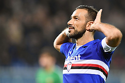 24.01.2018, Stadio Luigi Ferraris, Genua, ITA, Serie A, Sampdoria Genua vs AS Roma, 3. Runde, im Bild quagliarella fabio esulta dopo il gol del 1-0 // quagliarella fabio esulta dopo il gol del 1-0 during the Italian Serie A 3th round match between Sampdoria Genua and AS Roma at the Stadio Luigi Ferraris in Genua, Italy on 2018/01/24. EXPA Pictures &copy; 2018, PhotoCredit: EXPA/ laPresse/ Tano Pecoraro<br /> <br /> *****ATTENTION - for AUT, SUI, CRO, SLO only*****