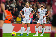 Alex Greenwood (England) & Georgia Stanway (England) waiting to take the free kick during the International Friendly match between England Women and Germany Women at Wembley Stadium, London, England on 9 November 2019.