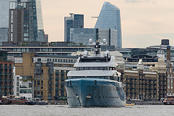© Licensed to London News Pictures. 12/09/2018. London, UK.  Billionaire Spurs owner, Joe Lewis's 321 feet long luxury superyacht Aviva leaves London on the River Thames passing Butlers Wharf following a London visit. Aviva, worth an estimated £113m is one of a growing number of superyachts to visit the capital this year and moored near Butlers Wharf for a number of weeks, during which wealthy homeowners criticised the Spurs owner for spoiling their river view.  Photo credit: Vickie Flores/LNP