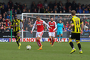 Fleetwood Town forward David Ball takes the ball upfield during the Sky Bet League 1 match between Burton Albion and Fleetwood Town at the Pirelli Stadium, Burton upon Trent, England on 12 March 2016. Photo by Aaron  Lupton.