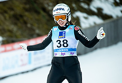 Juliane Seyfarth of Germany reacts during 2nd Round at Day 1 of World Cup Ski Jumping Ladies Ljubno 2019, on February 8, 2019 in Ljubno ob Savinji, Slovenia. Photo by Matic Ritonja / Sportida