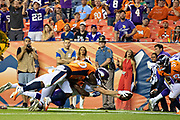 DENVER, CO - AUGUST 11:  Kyle Sloter #1 of the Minnesota Vikings dives into the end zone for a touchdown during preseason week 1 against the Denver Broncos at Broncos Stadium at Mile High on August 11, 2018 in Denver, Colorado.  The Vikings defeated the Broncos 42-28.  (Photo by Wesley Hitt/Getty Images) *** Local Caption *** Kyle Sloter
