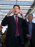 © Licensed to London News Pictures. 27/04/2015. Hampshire, UK Deputy Prime Minister Nick Clegg visits the Ageas Bowl in Eastleigh, the home of Hampshire cricket, with Liberal Democrat prospective parliamentary candidate Mike Thornton. Nick Clegg and Mike Thornton visited the new hotel development, as well as speaking at a rally for local activists. Photo credit : Stephen Simpson/LNP
