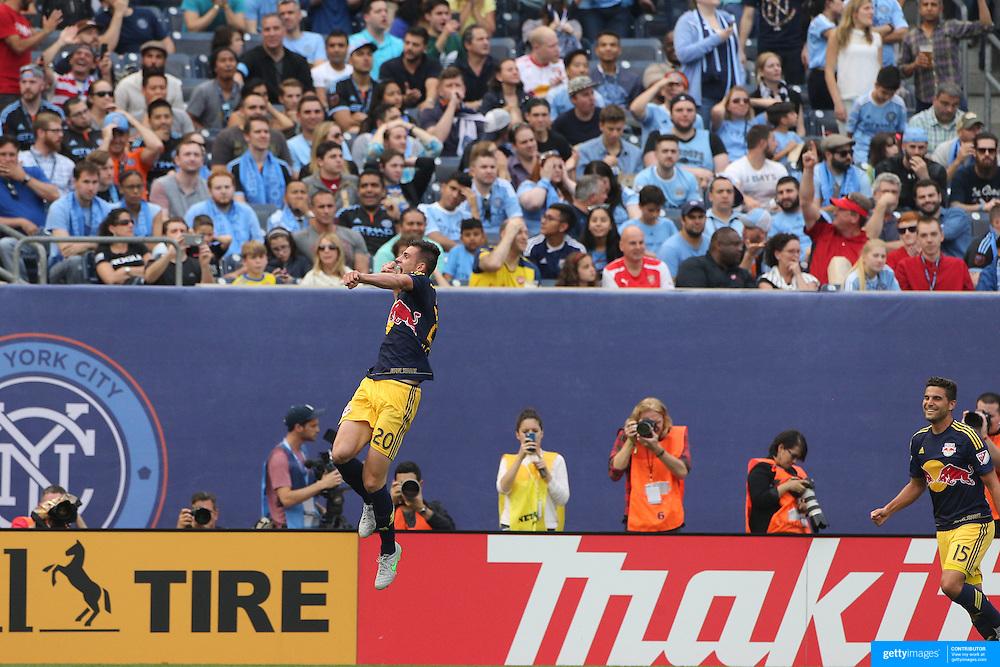 Matt Miazga, NYCFc, celebrates after scoring his sides third goal during the New York City FC Vs New York Red Bulls, MSL regular season football match at Yankee Stadium, The Bronx, New York,  USA. 28th June 2015. Photo Tim Clayton