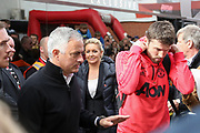 Manchester United Manager Jose Mourinho gestures and Michael Carrick arrive off the coach during the Premier League match between Bournemouth and Manchester United at the Vitality Stadium, Bournemouth, England on 3 November 2018.