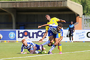 AFC Wimbledon striker Dominic Poleone (10) is stopped by Reading's defence during the Pre-Season Friendly match between AFC Wimbledon and Reading at the Cherry Red Records Stadium, Kingston, England on 23 July 2016. Photo by Stuart Butcher.