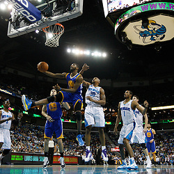 January 5, 2011; New Orleans, LA, USA; Golden State Warriors small forward Dorell Wright (1) shoots over New Orleans Hornets power forward David West (30) during the third quarter at the New Orleans Arena. The Warriors defeated the Hornets 110-103.  Mandatory Credit: Derick E. Hingle