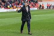 Bristol City manager, Lee Johnson gives the thumbs up during the Sky Bet Championship match between Bristol City and Cardiff City at Ashton Gate, Bristol, England on 5 March 2016. Photo by Shane Healey.