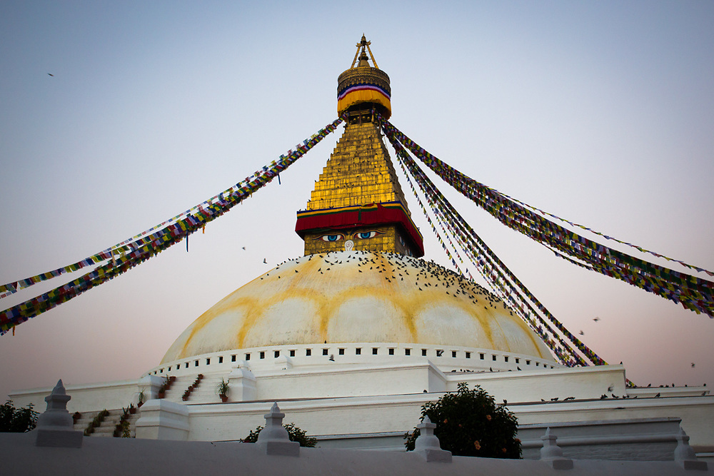 Boudhanath in Kathmandu is the most venerated Buddhist site in Nepal. The Stupa is on the ancient trade route from Tibet so, Tibetan merchants have rested here and offered prayers  since long time. Is believed that here are enshrined the relics of Kassapa Buddha.<br />