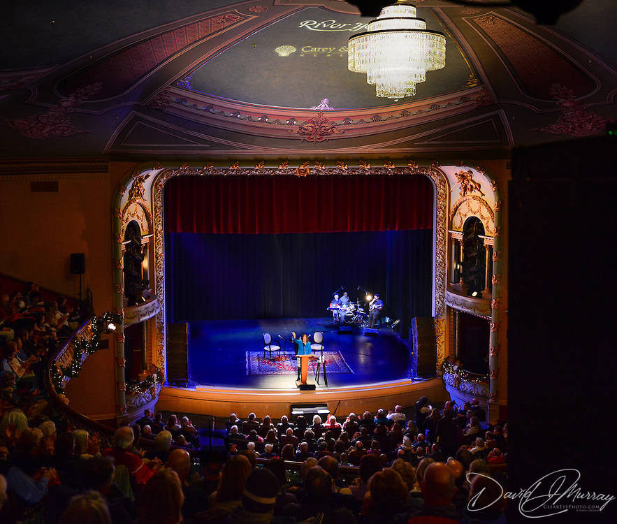 Music Hall Executive Director and WNES Producer Patricia Lynch introduces author Doris Kearns Goodwin, who appeared at a Writers on a New England Stage show at The Music Hall in Portsmouth, NH