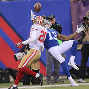 Odell Beckham Jr, New York Giants, makes a spectacular catch late in the fourth quarter during the New York Giants V San Francisco 49ers, NFL American Football match at MetLife Stadium, East Rutherford, NJ, USA. 16th November 2014. Photo Tim Clayton