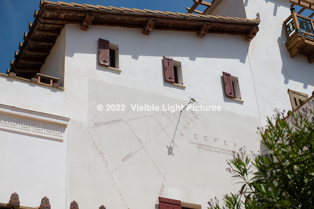 About a twenty-minute walk down the road from Villa Ephrussi de Rothschild in St. Jean Capferrat is Villa Kerylos.  This appears to be a type of sundial device built into the side of the building.