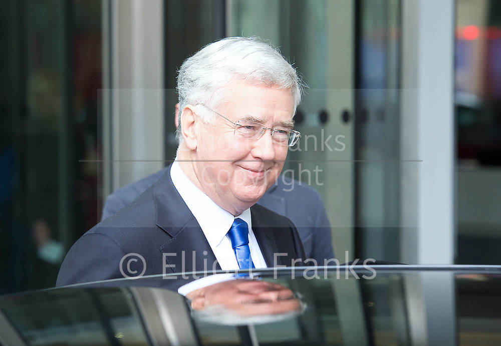 Andrew Marr Show <br /> departures <br /> BBC, Broadcasting House, London, Great Britain <br /> 2nd April 2017 <br /> <br /> <br /> Michael Fallon MP <br /> Defence Secretary <br /> leaves the BBC <br /> <br /> <br /> Photograph by Elliott Franks <br /> Image licensed to Elliott Franks Photography Services