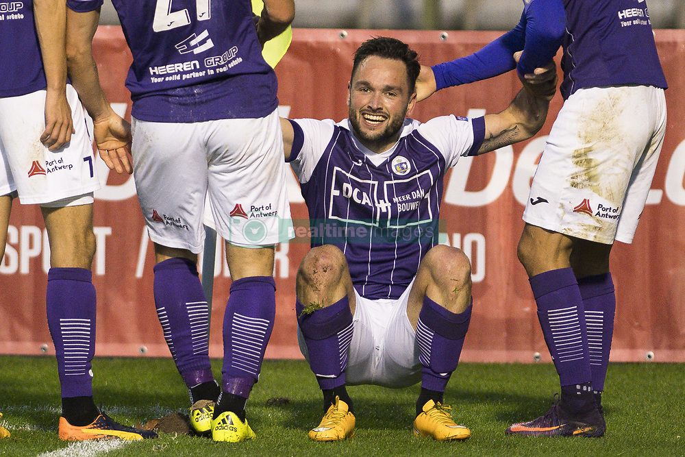November 5, 2017 - Brussels, BELGIUM - Beerschot's Alexander Maes celebrates after scoring during a soccer game between Union Saint-Gilloise and Beerschot-Wilrijk, in Brussels, Sunday 05 November 2017, on day 14 of the division 1B Proximus League competition of the Belgian championship. BELGA PHOTO LAURIE DIEFFEMBACQ (Credit Image: © Laurie Dieffembacq/Belga via ZUMA Press)