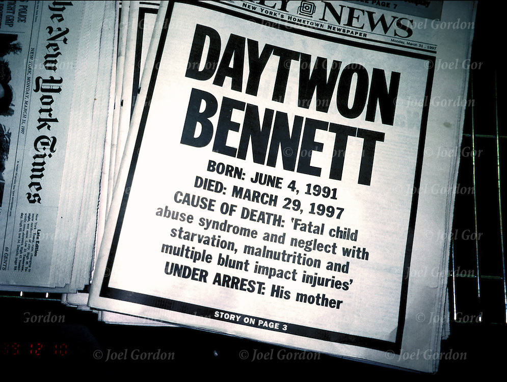 "Child Abuse Death headline "" Daytwon Bennett"" cause of death: Fatal child abuse syndrome - news media coverage of crime(s) of violence - tabloid newspaper about homicide, emphasis is on the violence in our society by the media"