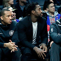 04 March 2018: LA Clippers guard Avery Bradley (11) is seen on the bench next to LA Clippers guard Patrick Beverley (21) and LA Clippers forward Danilo Gallinari (8) during the LA Clippers 123-120 victory over the Brooklyn Nets, at the Staples Center, Los Angeles, California, USA.