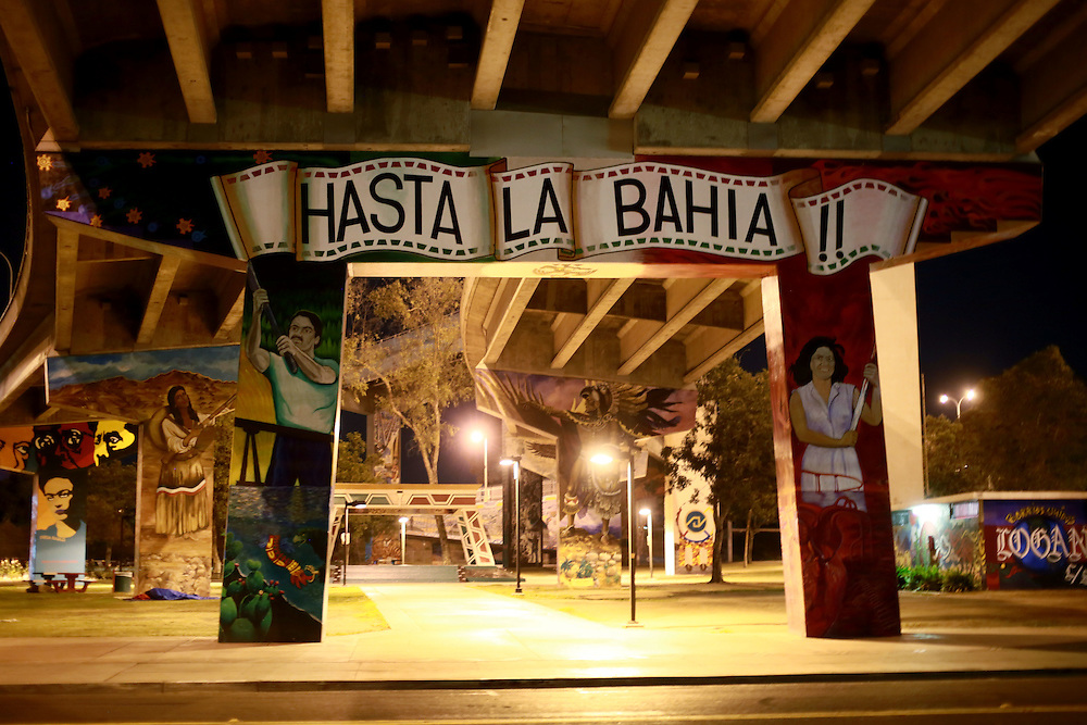 View of murals under the Coronado bridge in the Chicano Park area of San Diego in San Diego, California on Sunday, March 15, 2015.