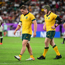 (L-R) Michael HOOPER of Australia and David POCOCK of Australia during the Rugby World Cup 2019 Quarter Final match between England and Australia on October 19, 2019 in Oita, Japan. (Photo by Dave Winter/Icon Sport) - Michael HOOPER - David POCOCK - Oita Stadium - Oita (Japon)