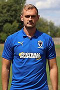 AFC Wimbledon striker James Hanson (18) during the AFC Wimbledon 2018/19 official photocall at the Kings Sports Ground, New Malden, United Kingdom on 31 July 2018. Picture by Matthew Redman.