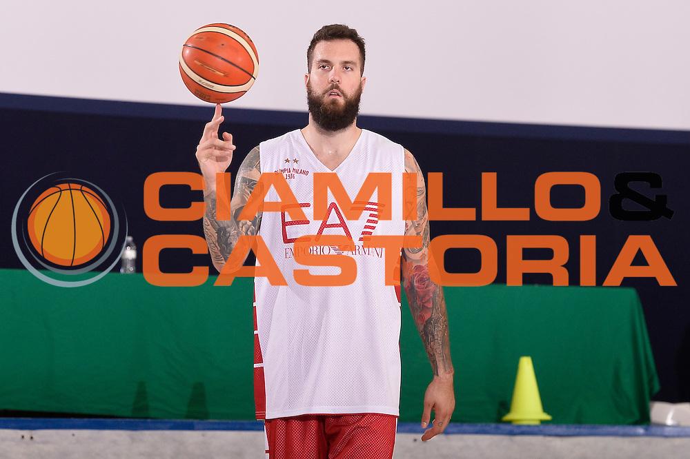 Miroslav Raduljica <br /> EA7 Emporio Armani Olimpia Milano allenamento<br /> Lega Basket Serie A 2016/2017<br /> Bormio 03/09/2016<br /> Foto Ciamillo-Castoria