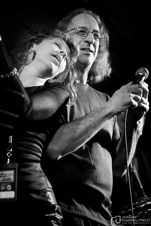 Annie Denison and Steve Cohen with Milwaukee Sleighriders live at Shank Hall. Photo ©  Jennifer Rondinelli Reilly. All rights reserved. May not be reused without permission.