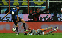 "L'intervento di LUCIO sul viso di Maarten STEKELENBURG<br /> The accident of Maarten STEKELENBURG with LUCIO of Inter<br /> Milano 17/9/2011 Stadio ""Giuseppe Meazza""<br /> Serie A 2011/2012 <br /> Football Calcio Inter Vs Roma<br /> Foto Insidefoto Alessandro Sabattini"