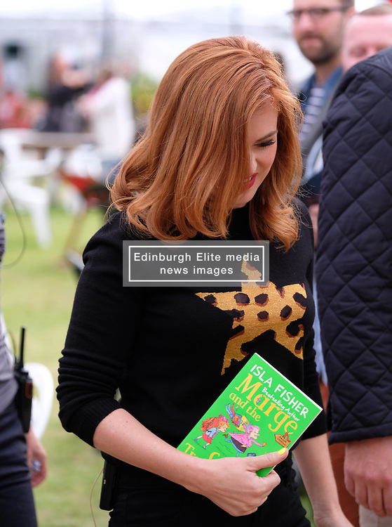 """Pictured:  Hollywood star Isla Fisher attends the Edinburgh International Book Festival 2017 to promote her book """"Marge In Charge""""<br /><br />Alex Todd   EEm Saturday 19th August 2017"""