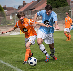© Licensed to London News Pictures . 02/08/2015 . Droylsden Football Club , Manchester , UK . LUKE TITTENSOR (l) competing for the ball . Celebrity football match in aid of Once Upon a Smile and Debra , featuring teams of soap stars . Photo credit : Joel Goodman/LNP