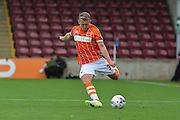 David Ferguson  crossing ball during the Sky Bet League 1 match between Scunthorpe United and Blackpool at Glanford Park, Scunthorpe, England on 5 September 2015. Photo by Ian Lyall.
