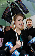 Elizabeth Smart speaks to the media following the guilty verdict in the Brian David Mitchell trail outside the federal court house Friday, Dec. 10 2010 in Salt Lake City. Mitchell was found guilty for the June 5 2002 kidnapping of Elizabeth Smart. (AP Photo/Colin E Braley)