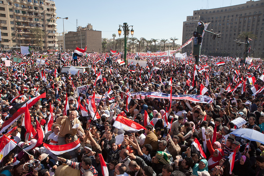 Crowd comes out a week after Mubarak was forced to step down for a million man gathering to celebrate victory in Tahrir Square and answer a call to prayer in honer of those who died for the revolution. Their was a heavy army presence in  Tahrir Square a week after the revolution egypt for the victory celebration. Millions gathered in three different squares around Cairo a week after Mubarak's regime fell.