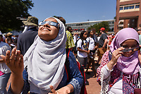 Students were able to view the solar eclipse from the Brickyard with sun-safe glasses.