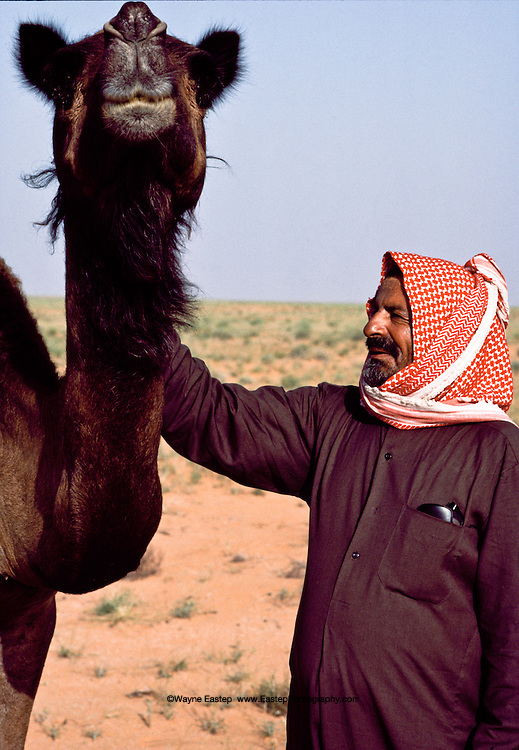 Nasser Al Amrah has an extensive vocabulary of sounds and words to communicate with his camels. Dahana Sands, Saudi Arabia
