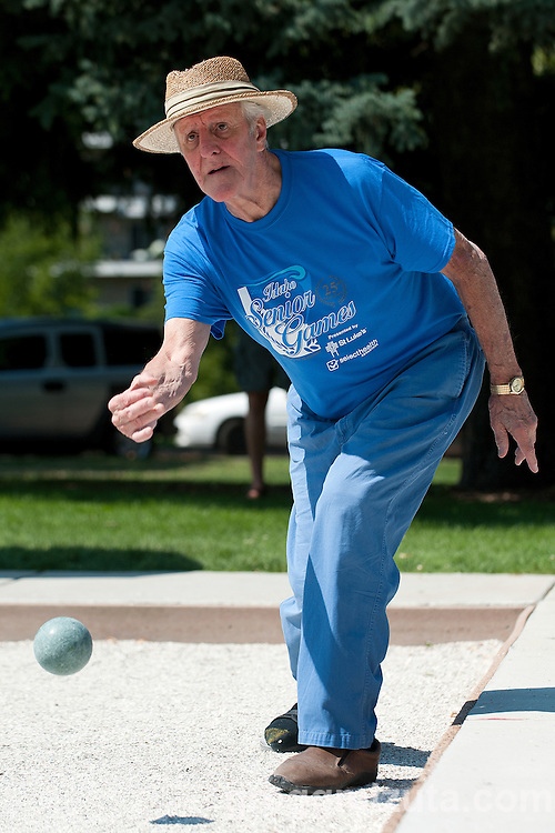 Rolanz Tenne competes in the Idaho Senior Games at Ann Morrison Park in Boise, Idaho on August 16, 2014.